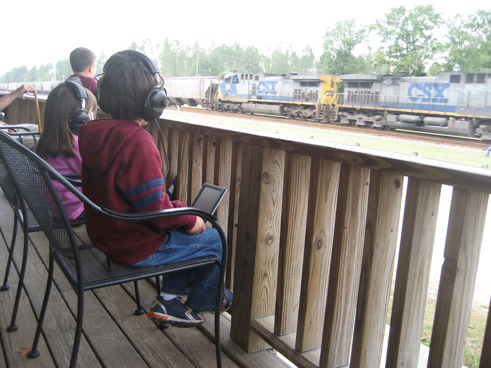 watching trains in Folkston, Georgia