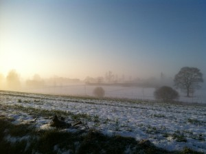 snow-covered fields in the countryside