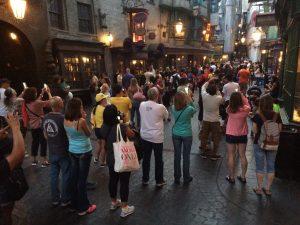 Crowds at the Gringotts dragon at Universal