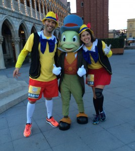 Yvonne and I at the Italy Pavilion in Epcot during the Enchanted 10k with our man Jiminy Cricket.