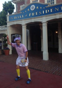 Me in front of the Hall of Presidents in the Magic Kingdom, giving it up for Grover Cleveland.