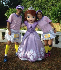 Yvonne and I near the finish line of the Princess Half Marathon with Princess Sofia. We kind of match.