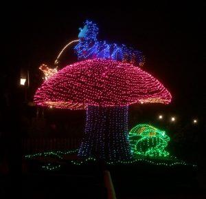 The caterpillar from Alice in Wonderland on his mushroom