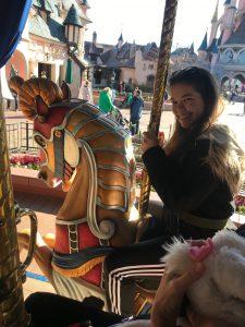 Amelia on the Disneyland Paris Carousel