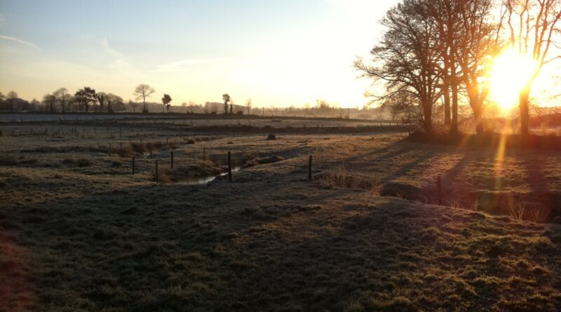 Frost-covered fields